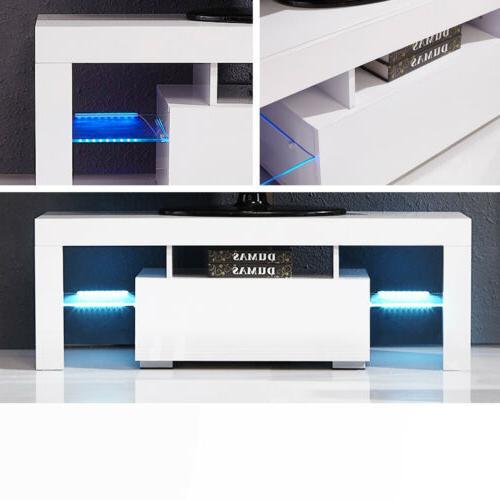 Modern White Unit Cabinet w/ LED Shelves