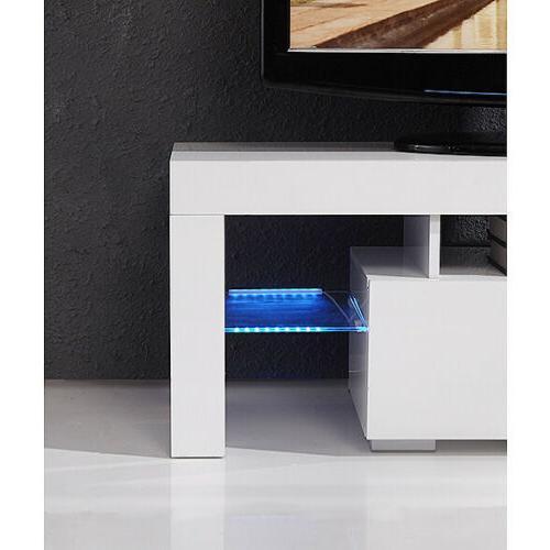 Modern White Unit Table w/ LED Shelves