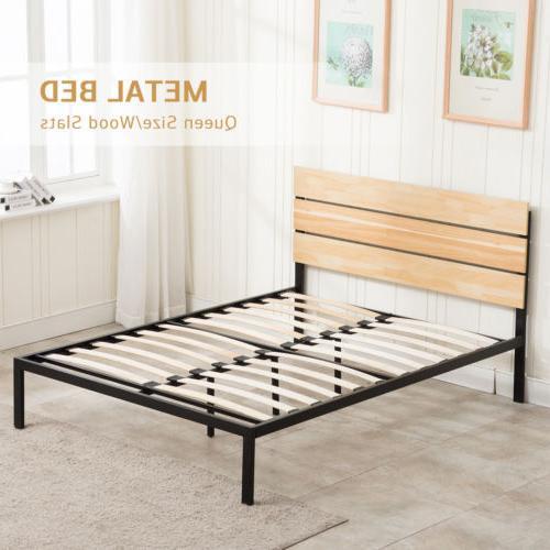 Queen Platform Frame Slats Bedroom