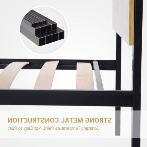 Queen Size Platform Frame Wooden Headboard Slats Bedroom