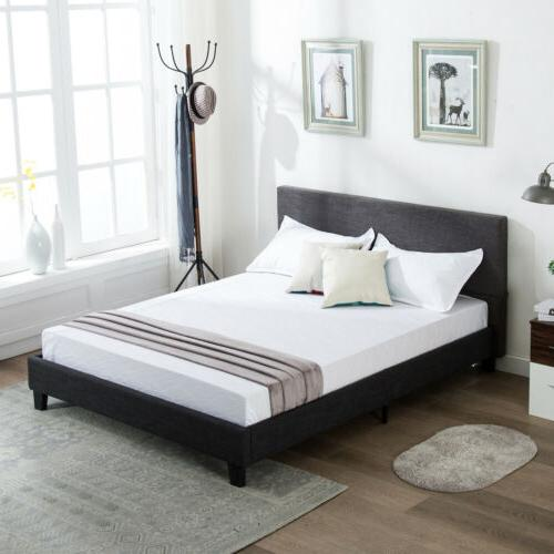 queen size upholstered linen platform bed frame