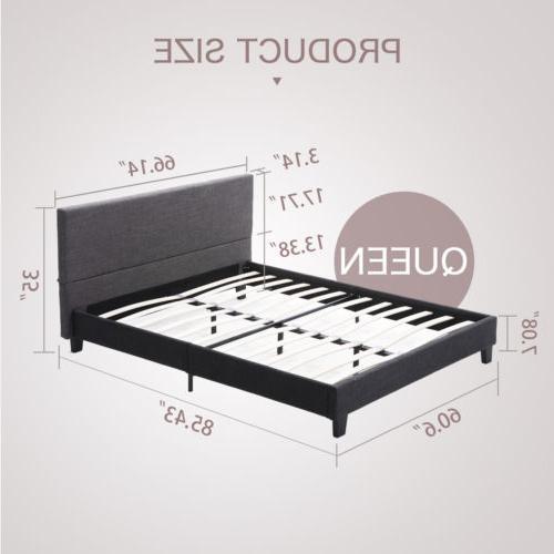 Queen Platform Bed w/Wood Slats