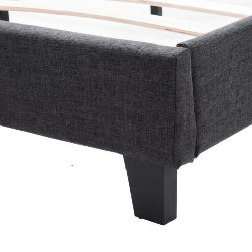 Queen Linen Platform Bed Frame w/Wood Slats