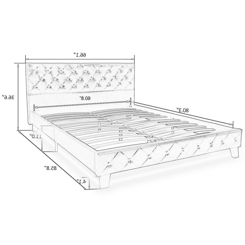 Queen Platform Bed Metal Frame, Stitched