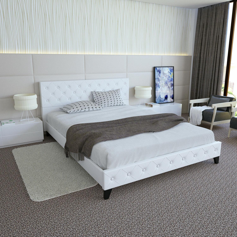 Queen Upholstered Platform Bed Metal Tufted