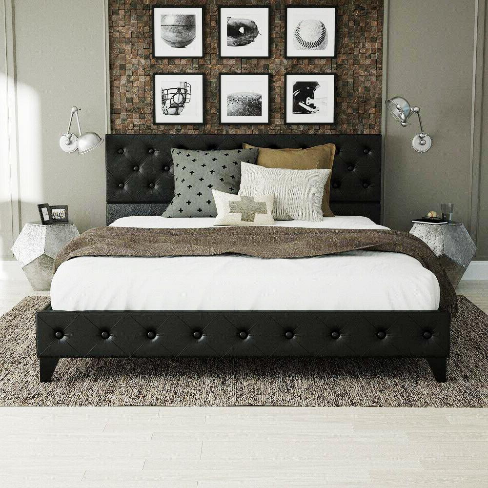 queen upholstered platform bed metal frame tufted