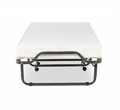 """Single Folding Bed 4.5"""" Memory Mattress Metal Frame"""