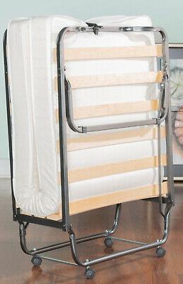 Single Size Folding Bed Memory Mattress Wooden Slat Metal Frame
