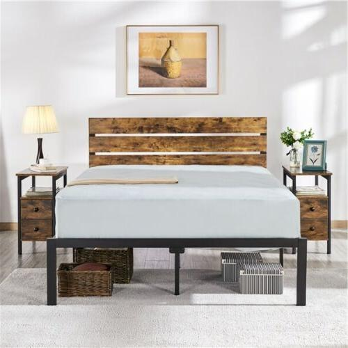 Full/Queen Size Metal Platform Bed Frame w/Wooden Headboard