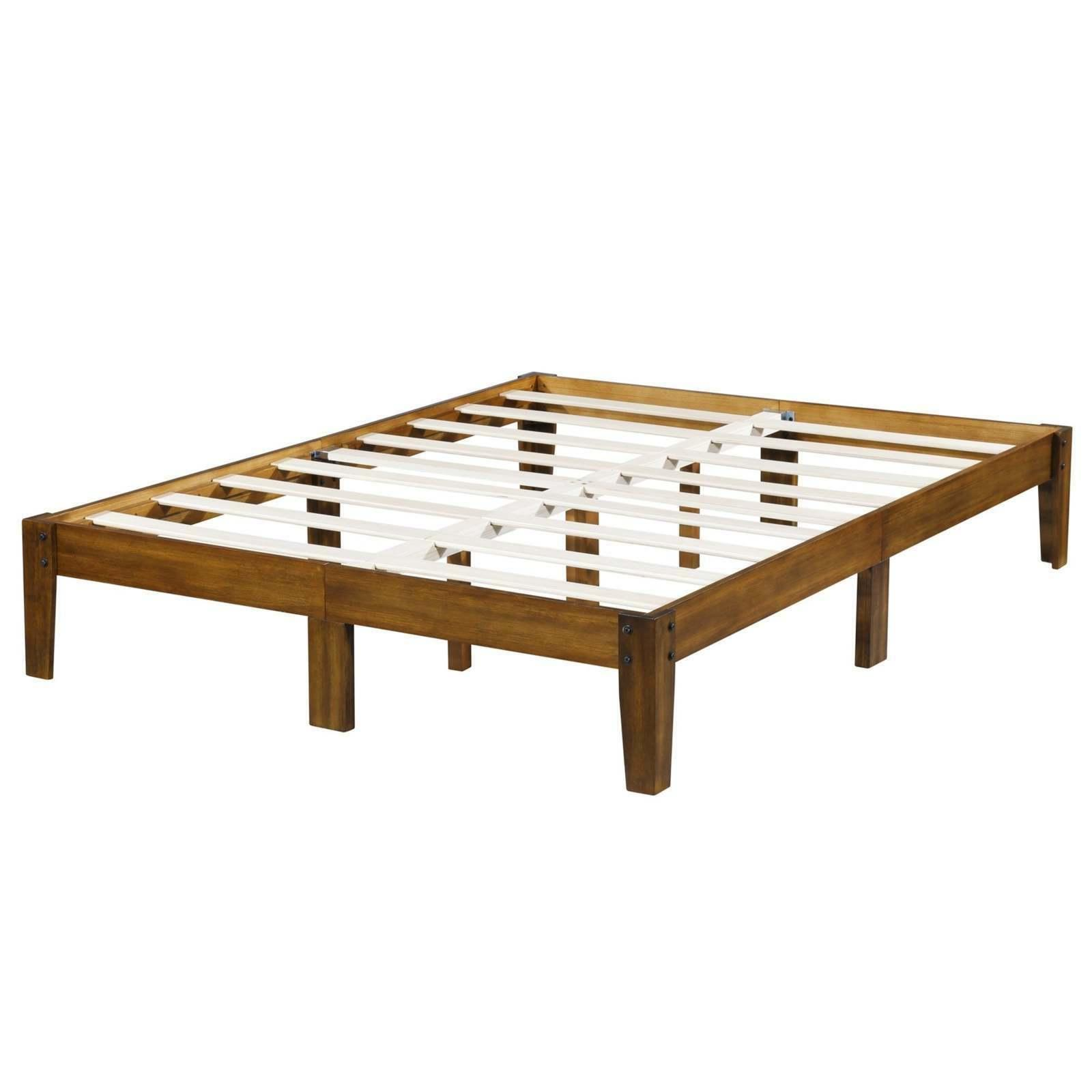 Rustic Bed Frame Queen 14 Inch High Cherry Finish