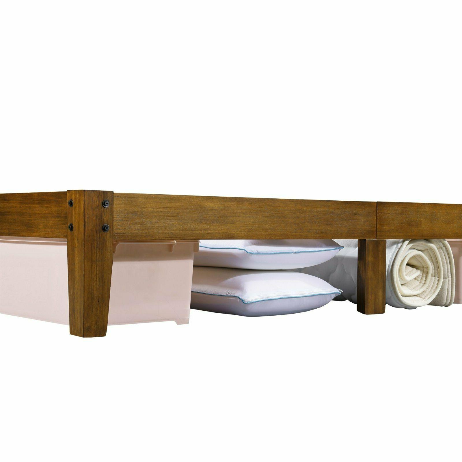 Rustic Wood Platform Bed Frame Queen 14 Inch High Cherry Brown Finish