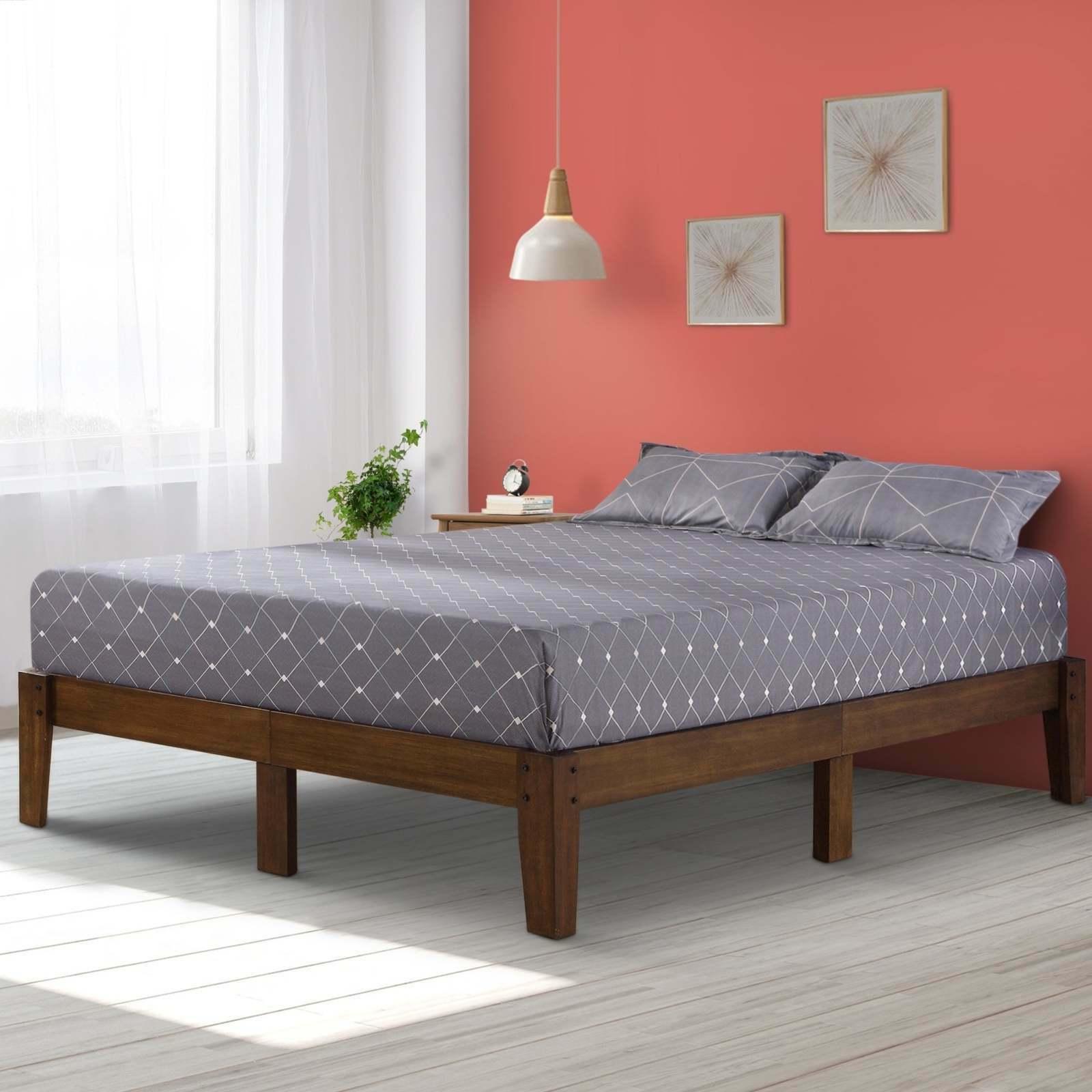 rustic wood platform bed frame queen size