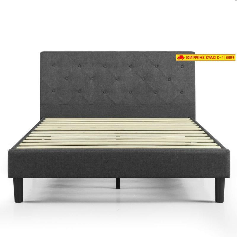 Zinus Shalini Upholstered Diamond Stitched Platform Bed in Dark