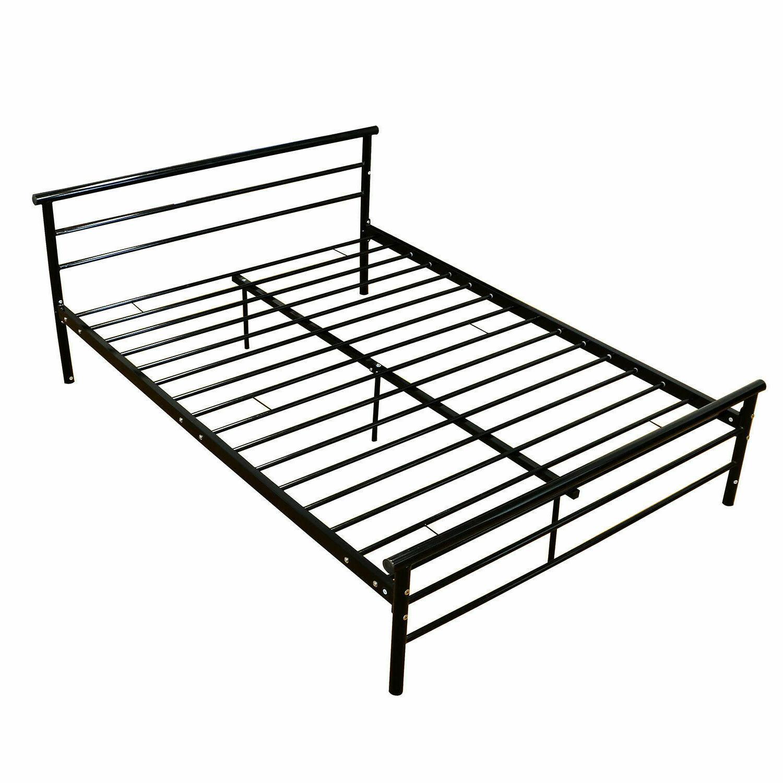 Platform Metal Frame Bed Foundation Headboard Bedroom Furnit