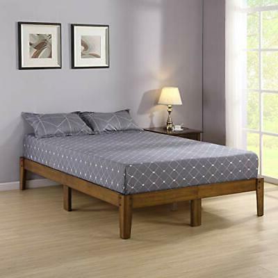 Olee Sleep Smart Wood Platform Bed Frame, Queen, Light