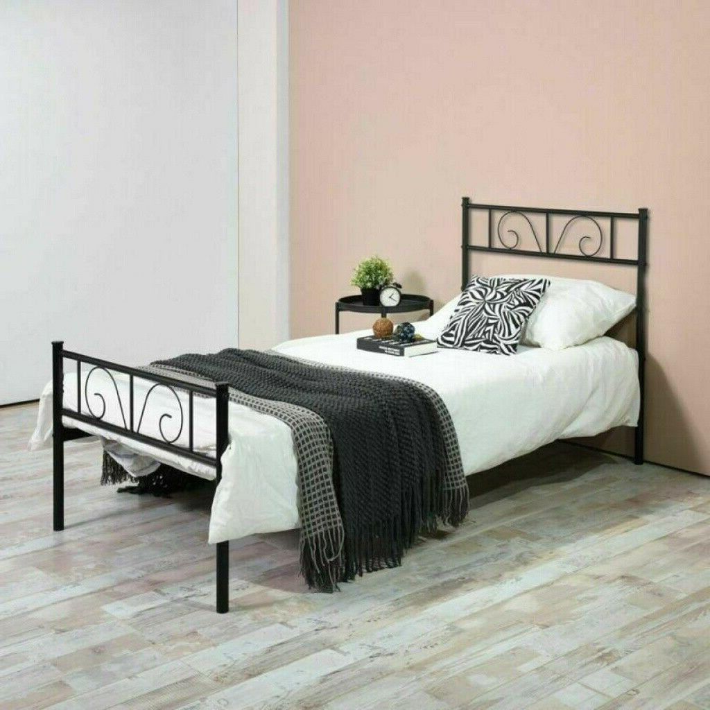 stable bed frame twin size metal platform