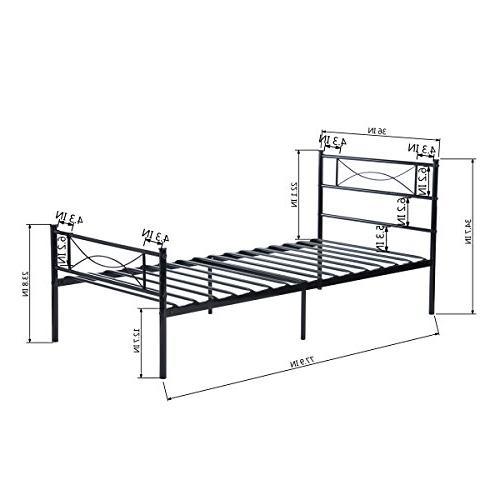 SimLife Metal Bed Twin 6 Legs Two Steel Bed Kids Spring Black
