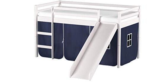 Tent Twin Slat Bed With Slide White Blue