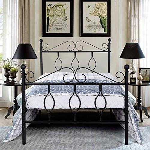 GreenForest Full Bed Frame Metal Platform Complete Bed with Vintage Headboard and Footboard Box Spring Replacement Steel Bed Frame Matte Black