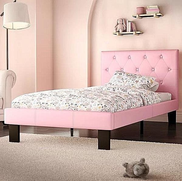 Twin Bed Frame Set Platform Beds Kids Girls Teens Pink Uphol