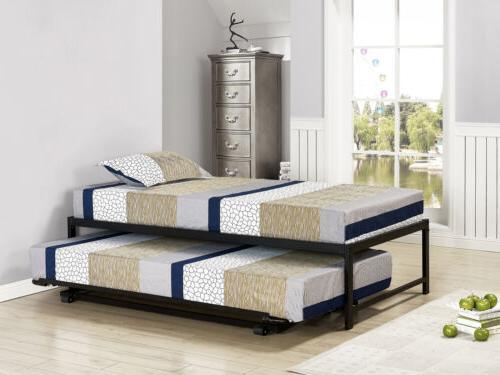 Kings Brand Furniture Twin Size Black Metal Platform Bed Wit