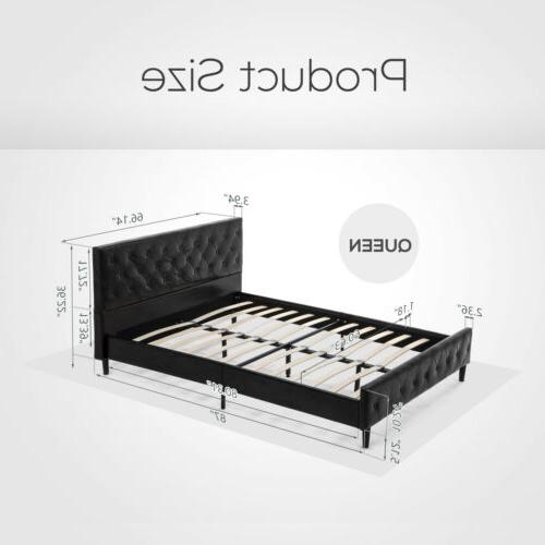 Queen Size PU Leather Bed Frame Tufted Metal Platform