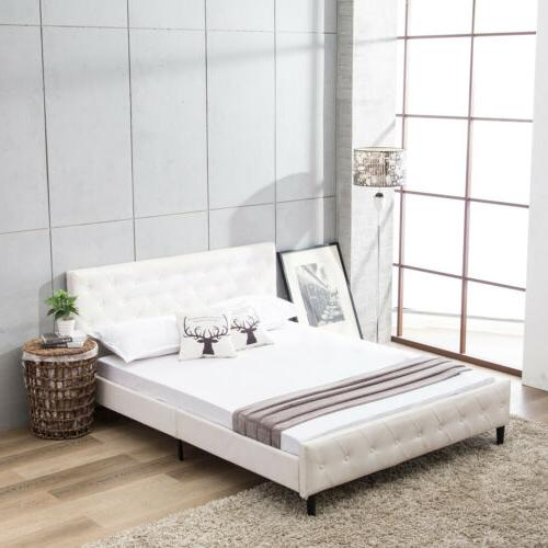 Queen Size Metal Bed Frame Bedroom Platform Button Tufted Up