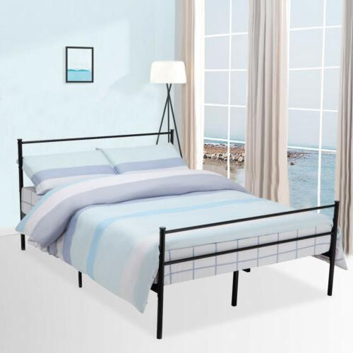 Queen Size Metal Bed Frame Platform Headboards 6 Leg with Me