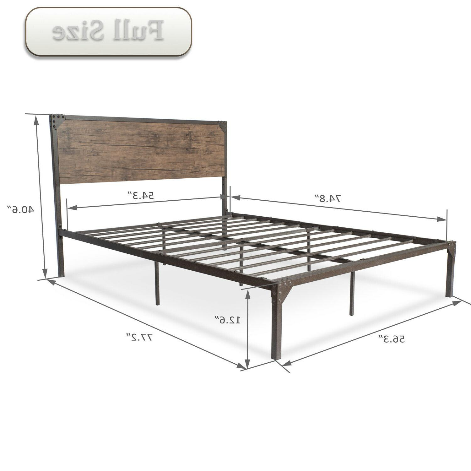 Full Size Bed Frame with Retro Style Wood