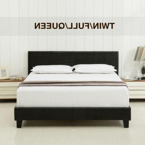 Twin Full Queen Size Faux Leather Platform Bed Frame&Slats U