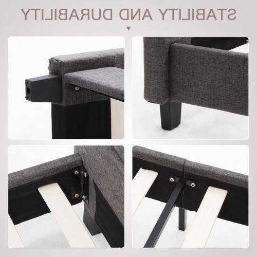TWIN Size Platform Frame Upholstered Linen
