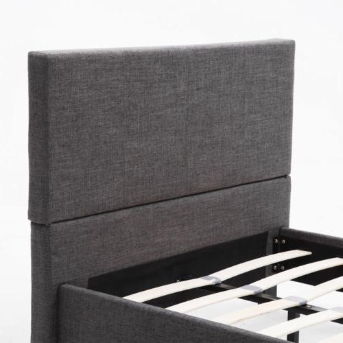 TWIN FULL QUEEN Platform Frame Upholstered Linen
