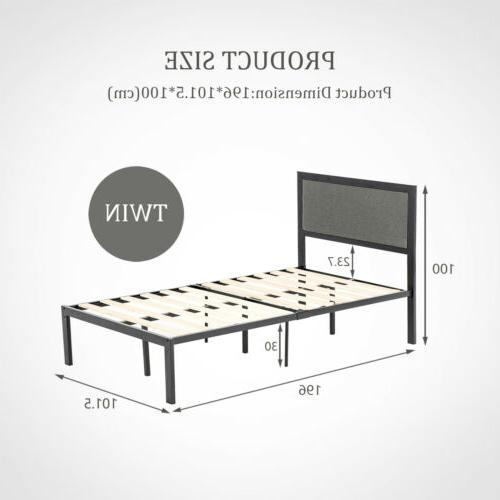 Twin/Full/Queen Upholstered Headboard Bed Frame