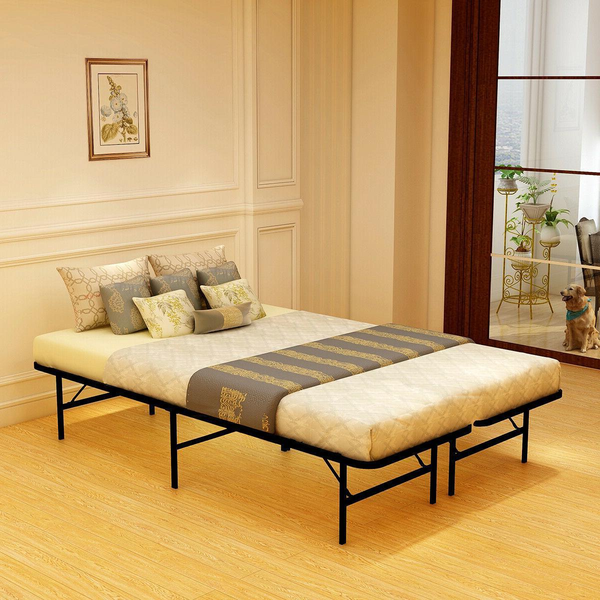 Twin/Full/Queen size Bed Frame Metal Platform Folding Heavy