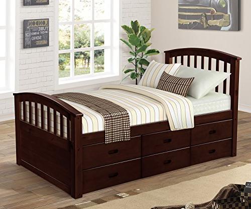 twin platform storage bed solid