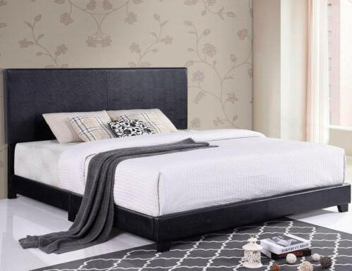 Twin/Queen/King Size Bed Leather Upholstered Headboard Black