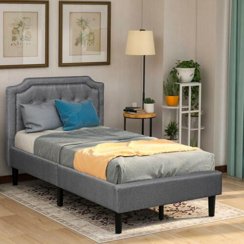 Twin Size Bed Frame Upholstered Headboard Linen Bed Platform