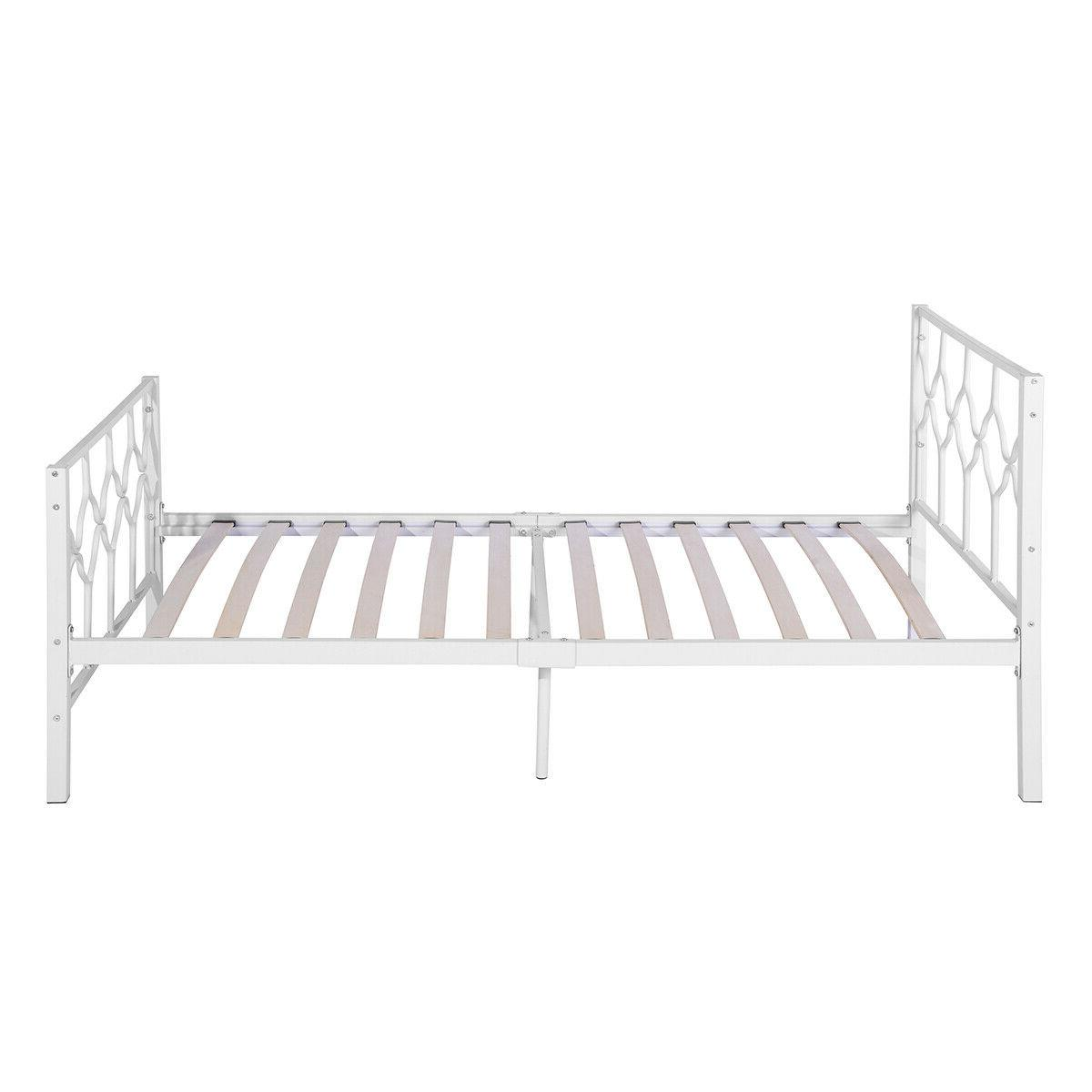 Twin Size Frame Metal Wood Slat Bed Structure