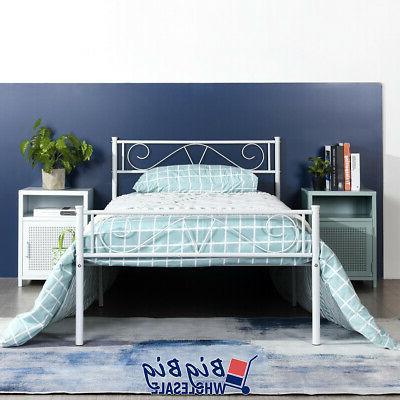 twin size bed frame white metal headboard
