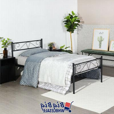 Twin Bed Frame Mattress Foundation with Headboard
