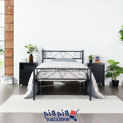 twin size metal bed frame black mattress