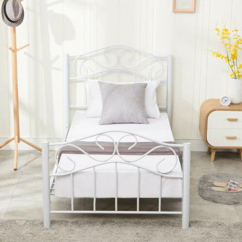 Twin Duty Metal Frame Headboard Footboard Black/White