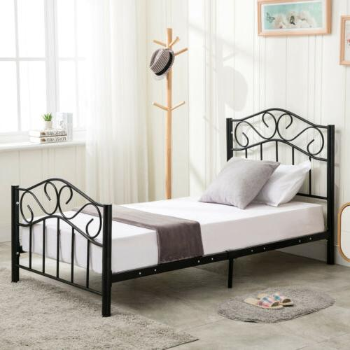 Twin Duty Metal Headboard Footboard Black/White