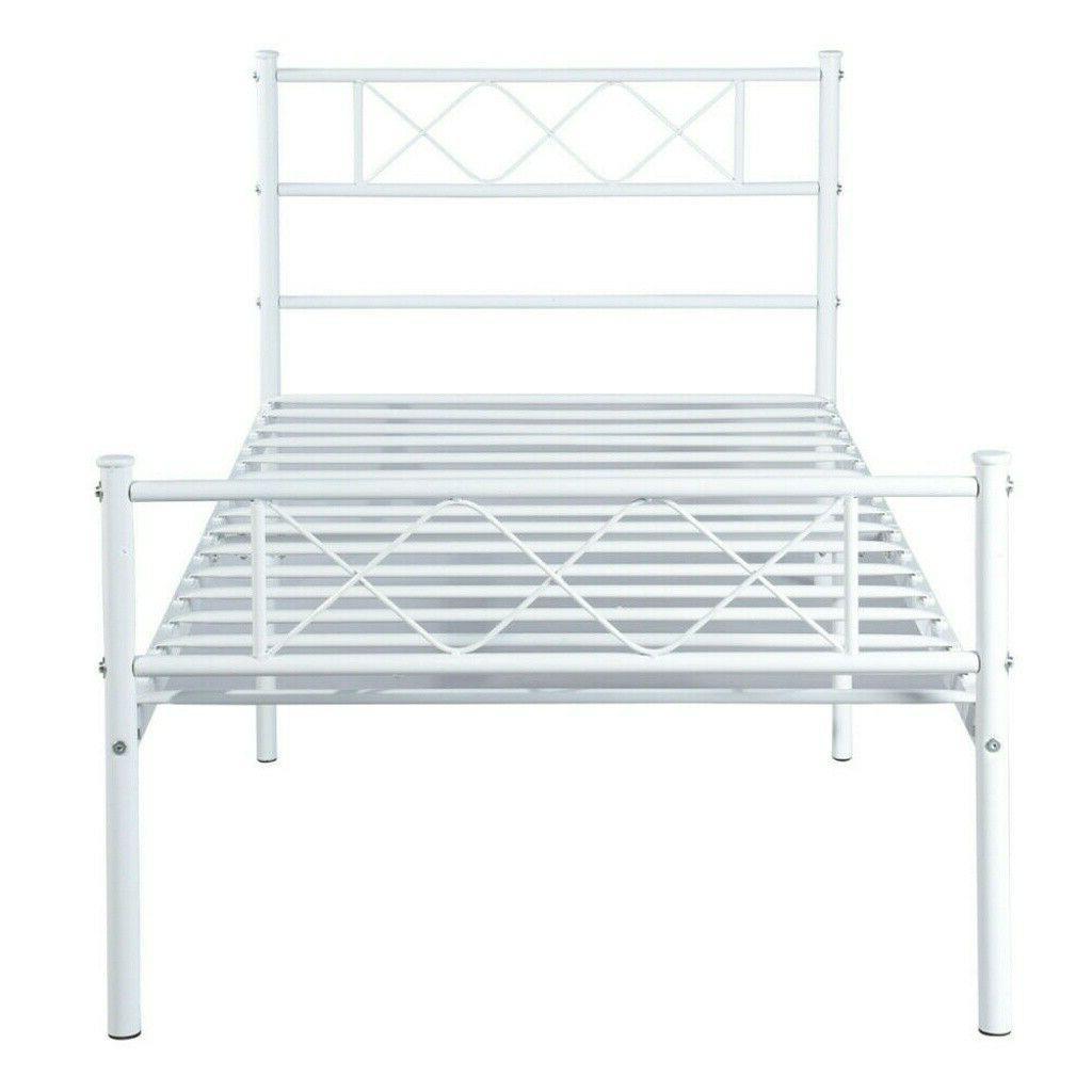 Twin Size Metal Bed Frame w/ Headboard Footboard Home Bedroo