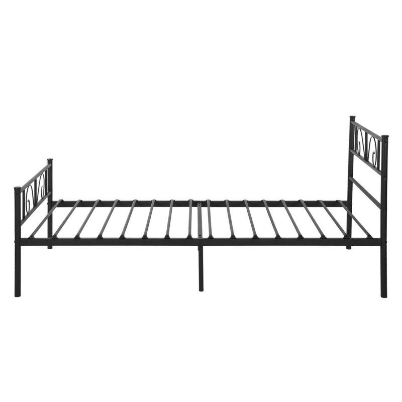 Twin Size Metal Bed Frame Foundation Headboard and Footboard Black