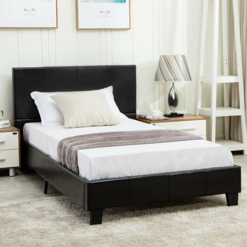 Twin Size Metal Bed Frame Platform Faux Leather Upholstered