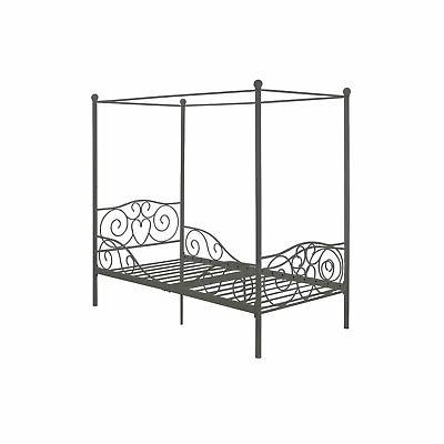 twin size metal canopy bed in pewter