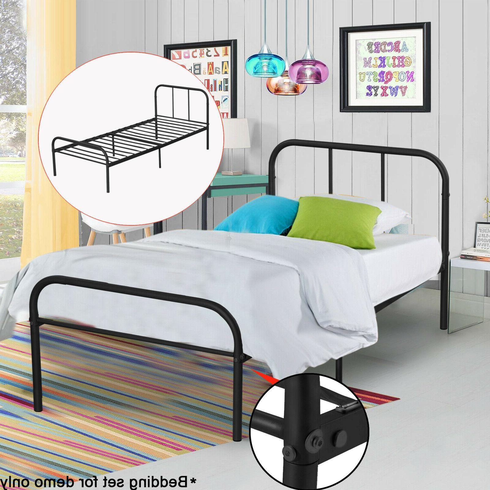 Metal Bed Frame Twin Size Black Headboard Platform Mattress