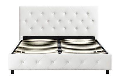 Upholstered Bed Frame Queen Size Modern Tufted Headboard Whi