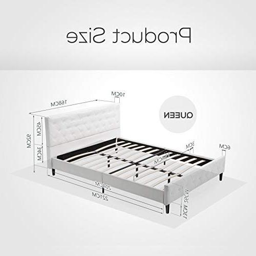 Mecor Upholstered Platform Wooden Slat Button Headboard Footboard-Queen